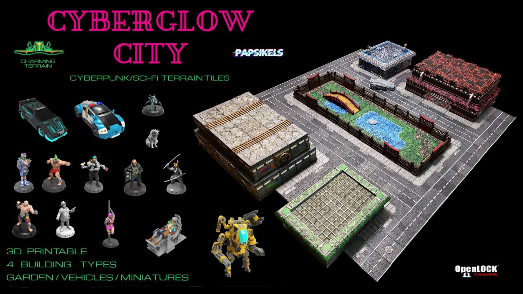 Cyberglow City - Cyberpunk & Sci-fi 3D printable STL Terrain & Miniatures