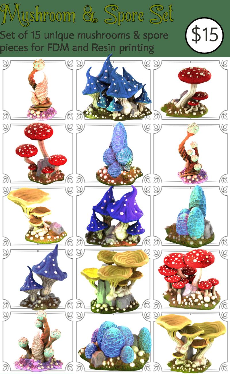 Mushrooms And Spore Set