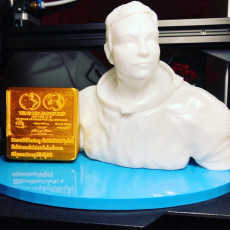 Picture of print of Neil Armstrong Bust & Moon Landing Plaque