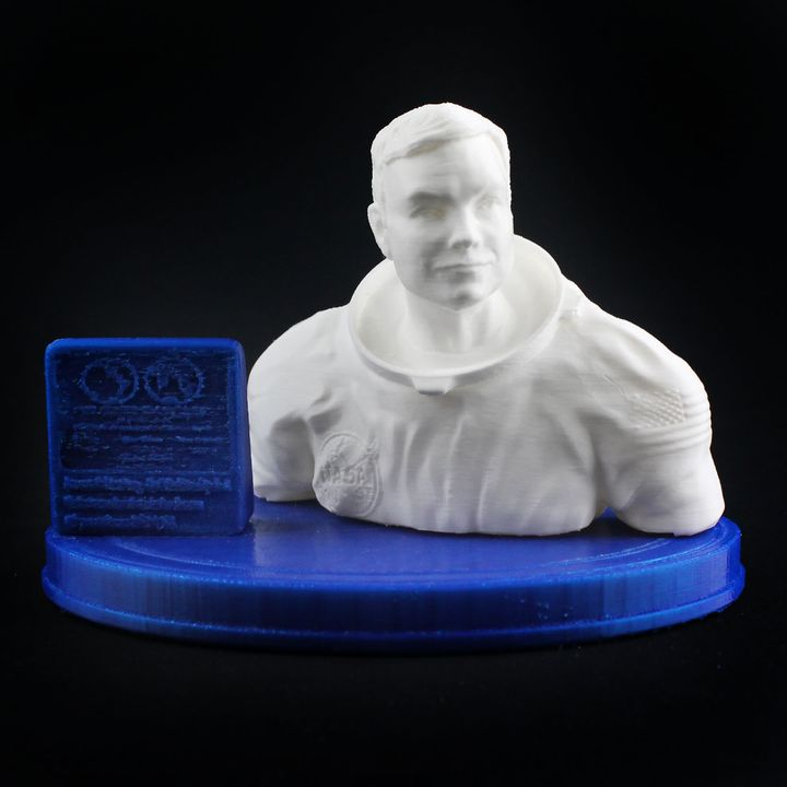 Neil Armstrong Bust & Moon Landing Plaque