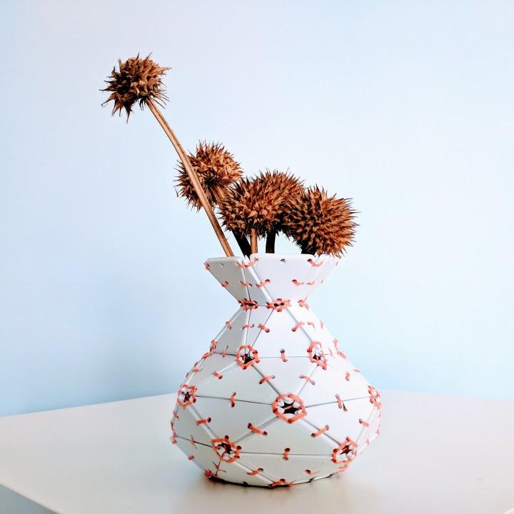 Lace-Up Tiled Vase