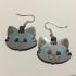 Kawaii Kitten Earrings (Silver Tabby) image