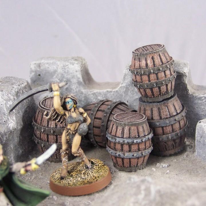 Delving Decor: Medieval Barrels (28mm/Heroic scale)