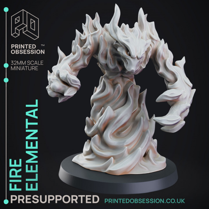Fire Elemental - DND Miniature - PRESUPPORTED - 32mm Scale