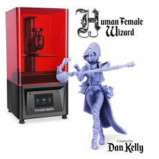 Human Female Wizard - By Dan Kelly (Elegoo Mars Free Edition)