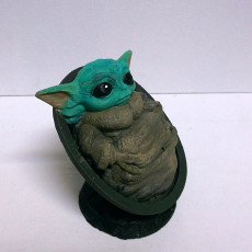 Picture of print of Baby Yoda from Star Wars (support free figure)