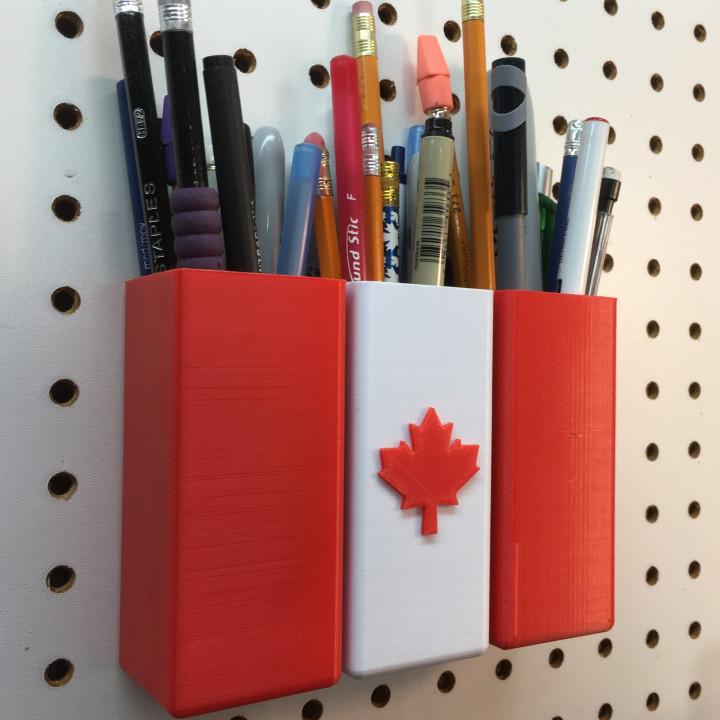 Canadian Flag Pegboard Pen Holder