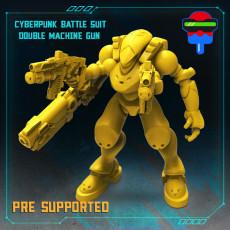 CYBERPUNK BATTLE SUIT DOUBLE MACHINE GUN