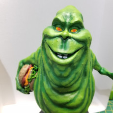 Picture of print of Slimer with hamburger fanart