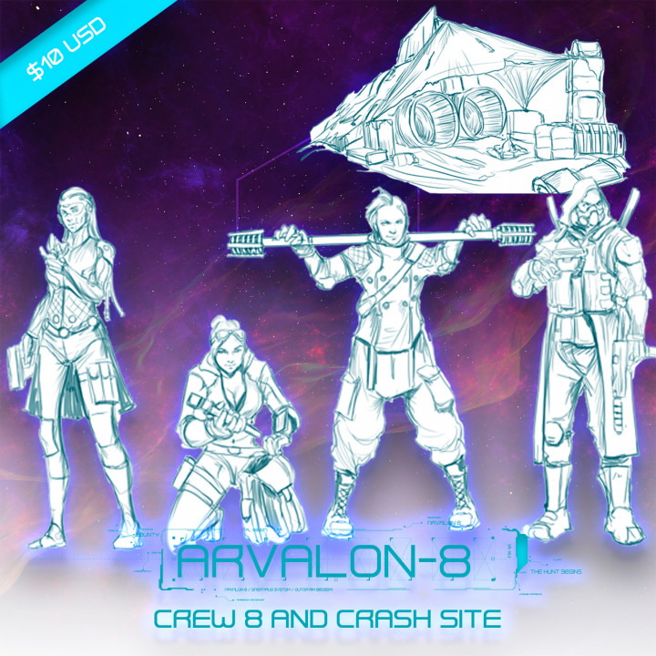 Arvalon-8 Crew 8 and the Crashed Site (Under Development)'s Cover