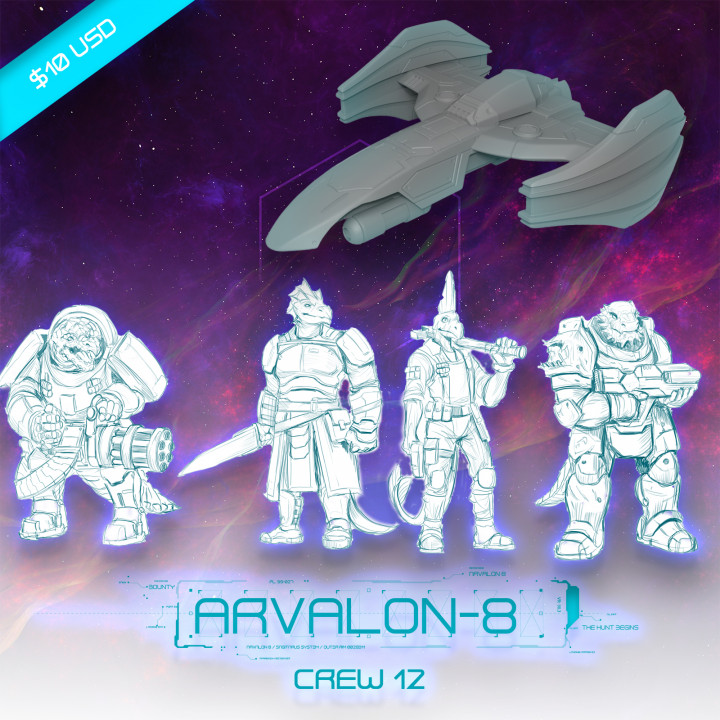 Arvalon-8 Crew 12 and the X-Calibur (Under Development)'s Cover