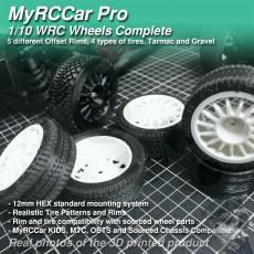 MyRCCar WRC Wheels 1/10 Complete, 5 Rims, 4 tires On-Road RC Car Wheels