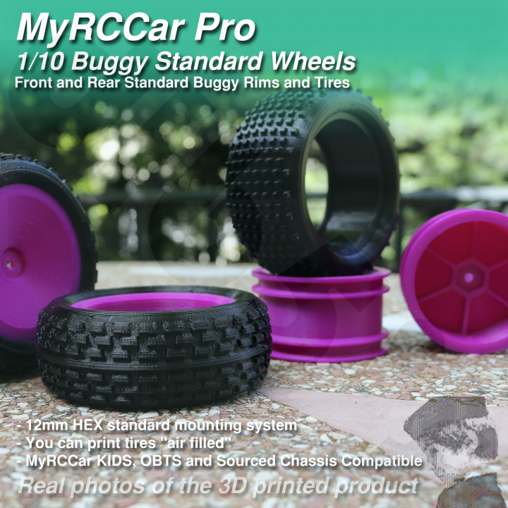 MyRCCar Buggy Wheels, 1/10 RC Car Rims and Tires for your 3D Printed Buggy