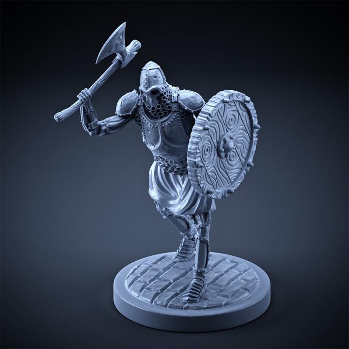 Skeleton - Heavy Infantry - Axe + Round Shield - Attack Pose