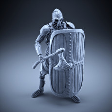 Skeleton - Heavy Infantry - Axe + Square Shield - Defensive Pose