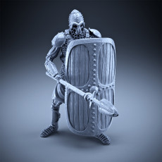 Skeleton - Heavy Infantry - Spear + Square Shield - Defensive Pose