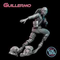 Guillermo, cyberpunk speedster miniature, 35mm scale, supported
