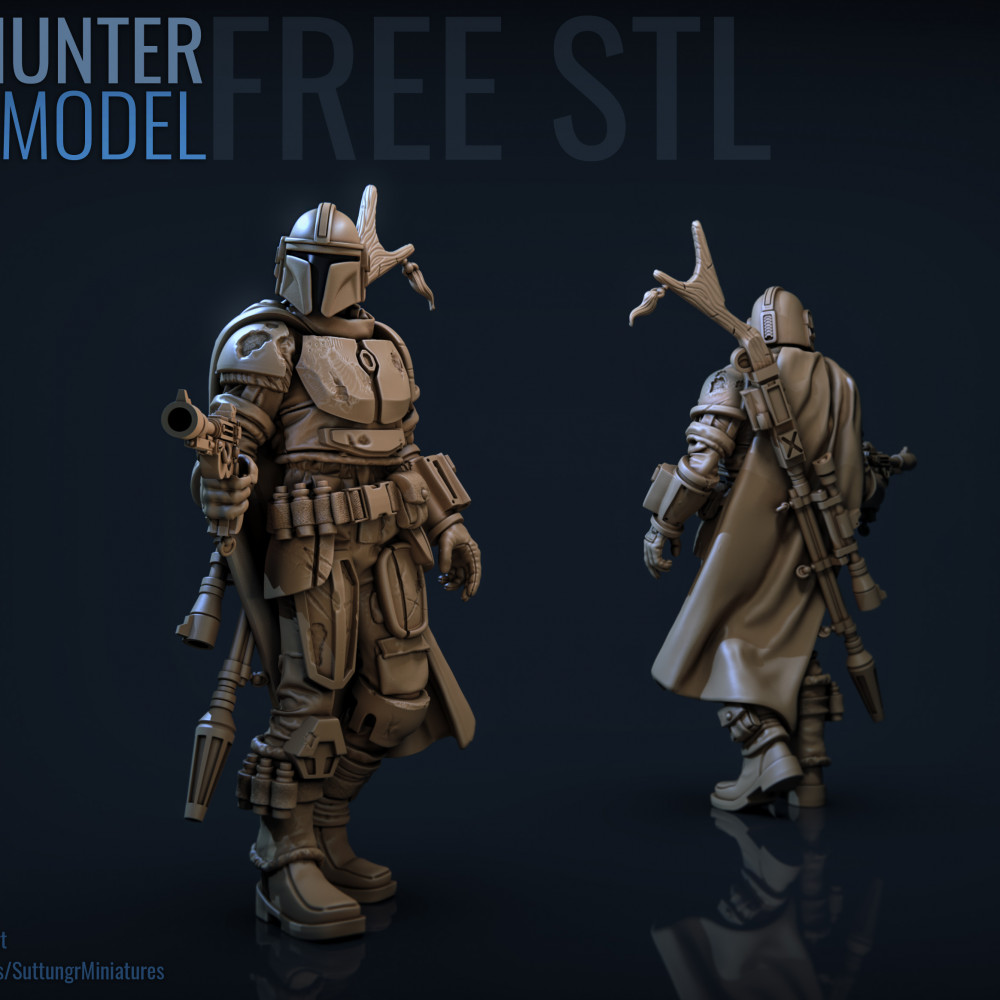 1000x1000 free stl template bounty hunter