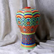 Korean traditional vase_Dancheong pattern (Multi color)