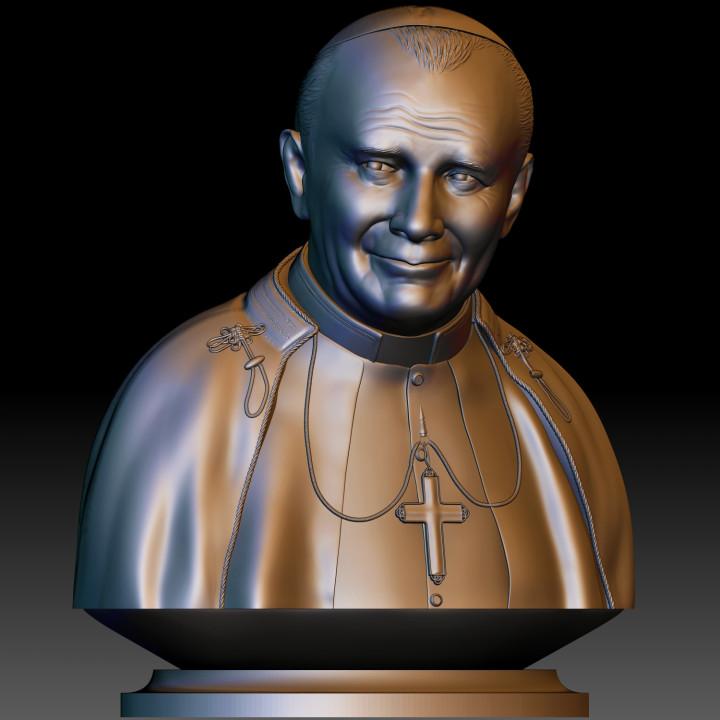 Pope John Paul II portrait 3d model STL file printable