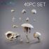 40pc Base Decorations Pack - Flowers, Grass, Cattails, Leaves, Sticks, Mushrooms, Frog, Lilypad, Rocks, Skulls, Mortar and Pestle image