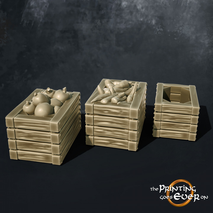 Wooden Crates with Fruit and Vegetables