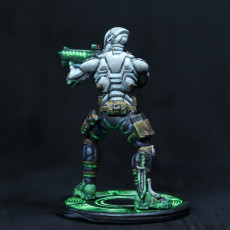 Picture of print of Cyberpunk soldier aiming a rifle