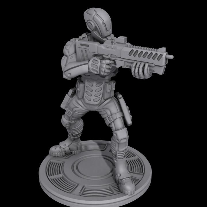 Cyberpunk soldier aiming a rifle