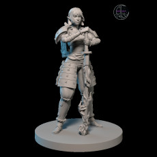 Samurai Girl with Flame Sword