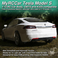MyRCCar 1/10 Tesla Model-S RC Car Body revisited. Smoothed and detailed