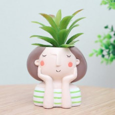 Decoration Planter Pot Cute Girl 3 stl for 3D printing