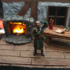 Picture of print of Vampire and alchemist. Tabletop miniature