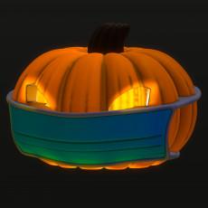 Covid Pumpkin in Face mask