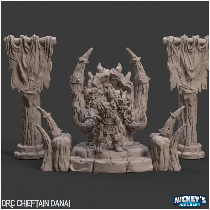 Orc Chieftain Danai + Detailed Scenic Base |32mm, 54mm,75mm Scaled Versions Available's Cover