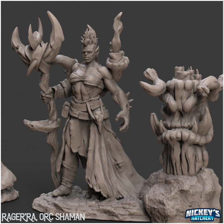 Rager'ra Orc Shaman, 2 Variants + Scenic Base | 32mm, 54mm Versions's Cover