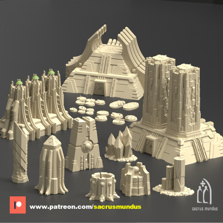 Karnac, The Tomb Planet. 3d Printing Designs Bundle. Ancient Alien Egypt and Necron. Terrain and Scenery for Wargames
