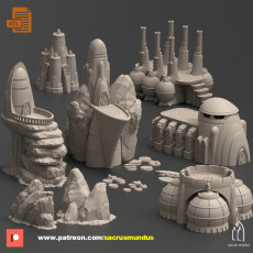The Thriving Planet. 3d Printing Designs Bundle. Futuristic Scifi Buildings, Rocks and Generators. Terrain and Scenery for Wargames