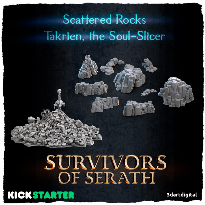 Scattered Rocks and Takrien, the Soul-Slicer's Cover