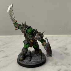 Picture of print of Black Orc Fighter - - Professionally pre-supported!