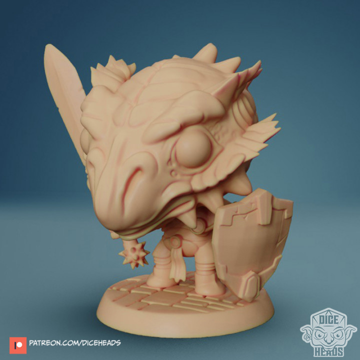 Chibi Dragonborn Paladin 24mm PRE-SUPPORTED's Cover