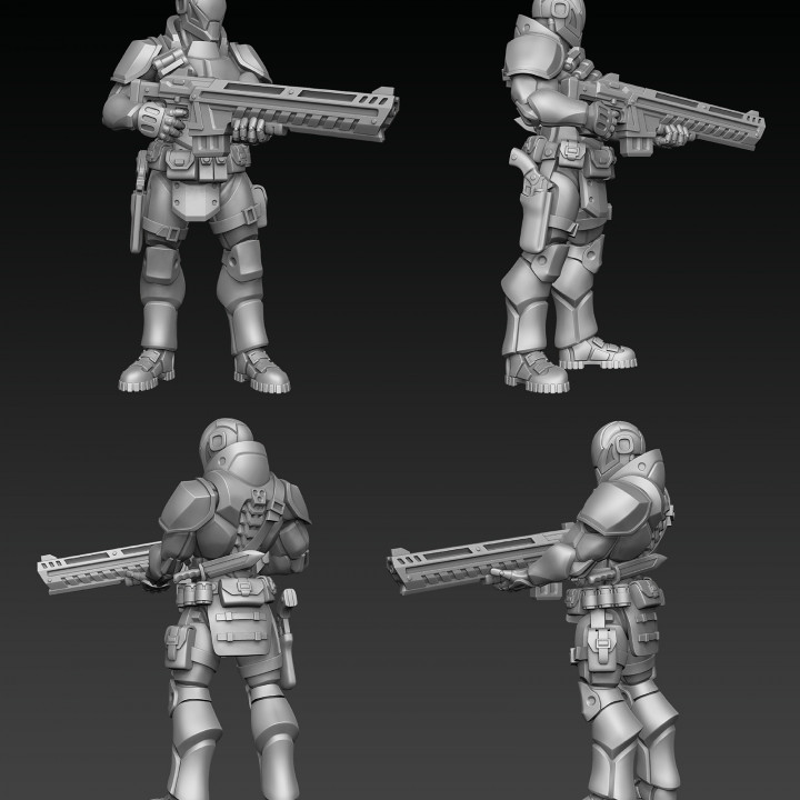 Cyberpunk Heavy Soldier On Guard (pre-supported)