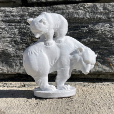 Picture of print of Mama bear with cub fountain