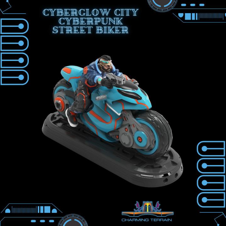 Cyberglow City Cyberpunk Street Biker