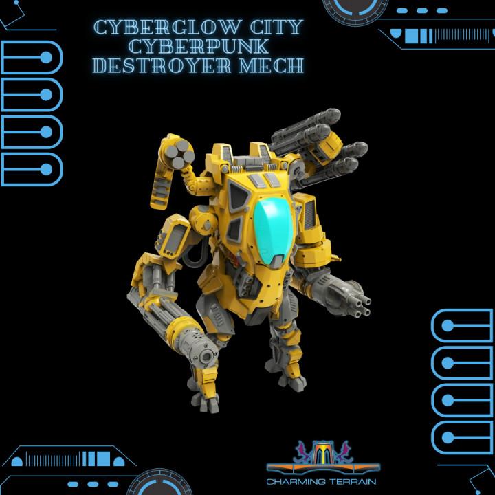 CyberGlow City Cyberpunk Destroyer Mech