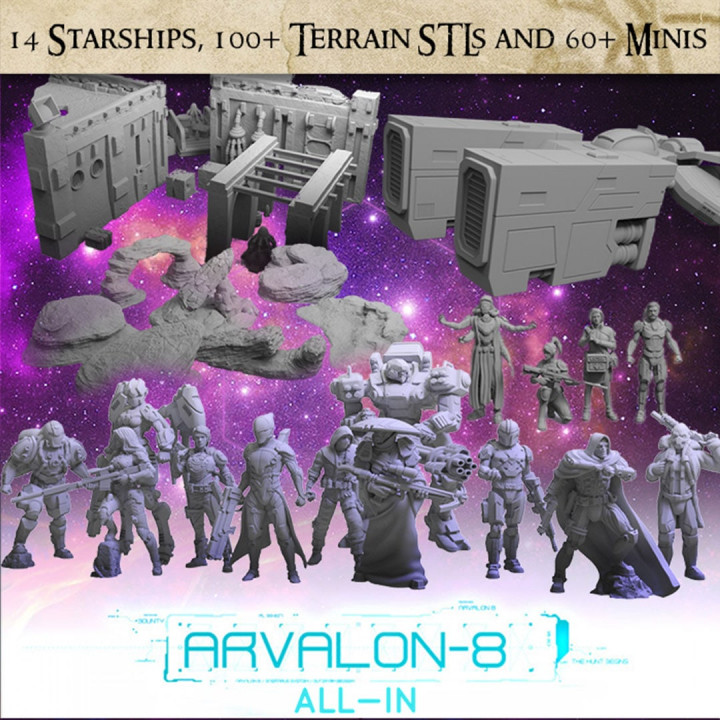 Arvalon-8 All-In - 60 unique sci-fi miniatures, 14 starships, and 100+ pieces of sci-fi terrain STLs's Cover