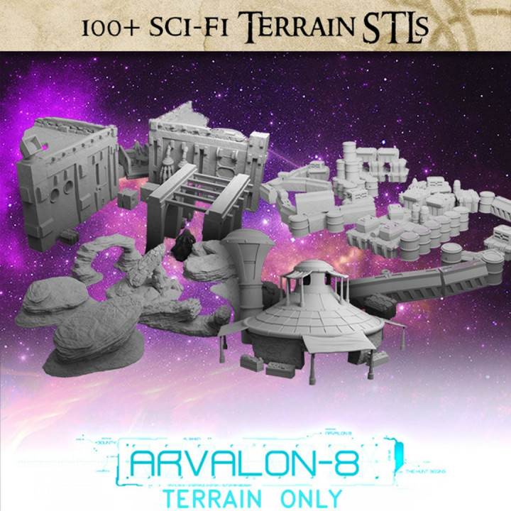 Arvalon-8 Terrain - 100+ pieces of sci-fi terrain STLs's Cover