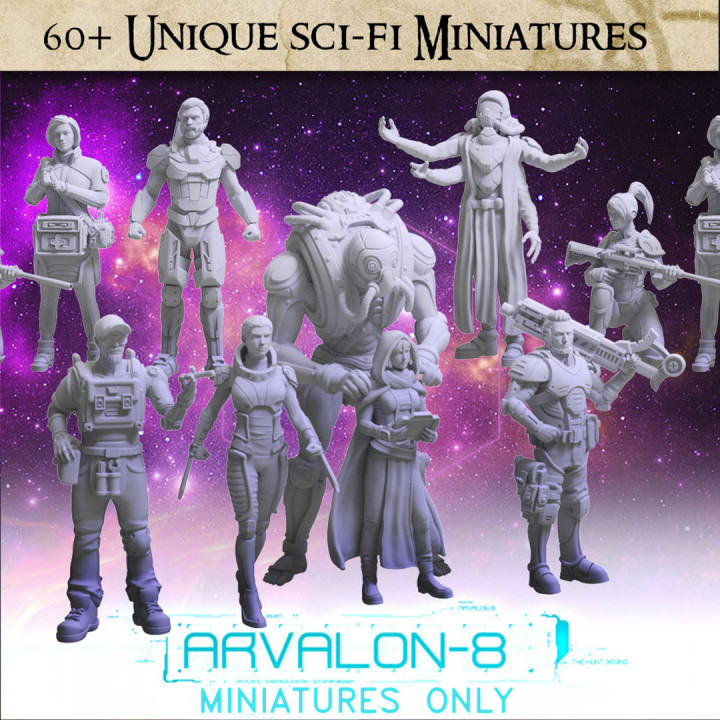 Arvalon-8 Characters - 60 unique sci-fi miniatures STLs's Cover