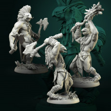 Trolls male set 3 miniatures 32mm pre-supported
