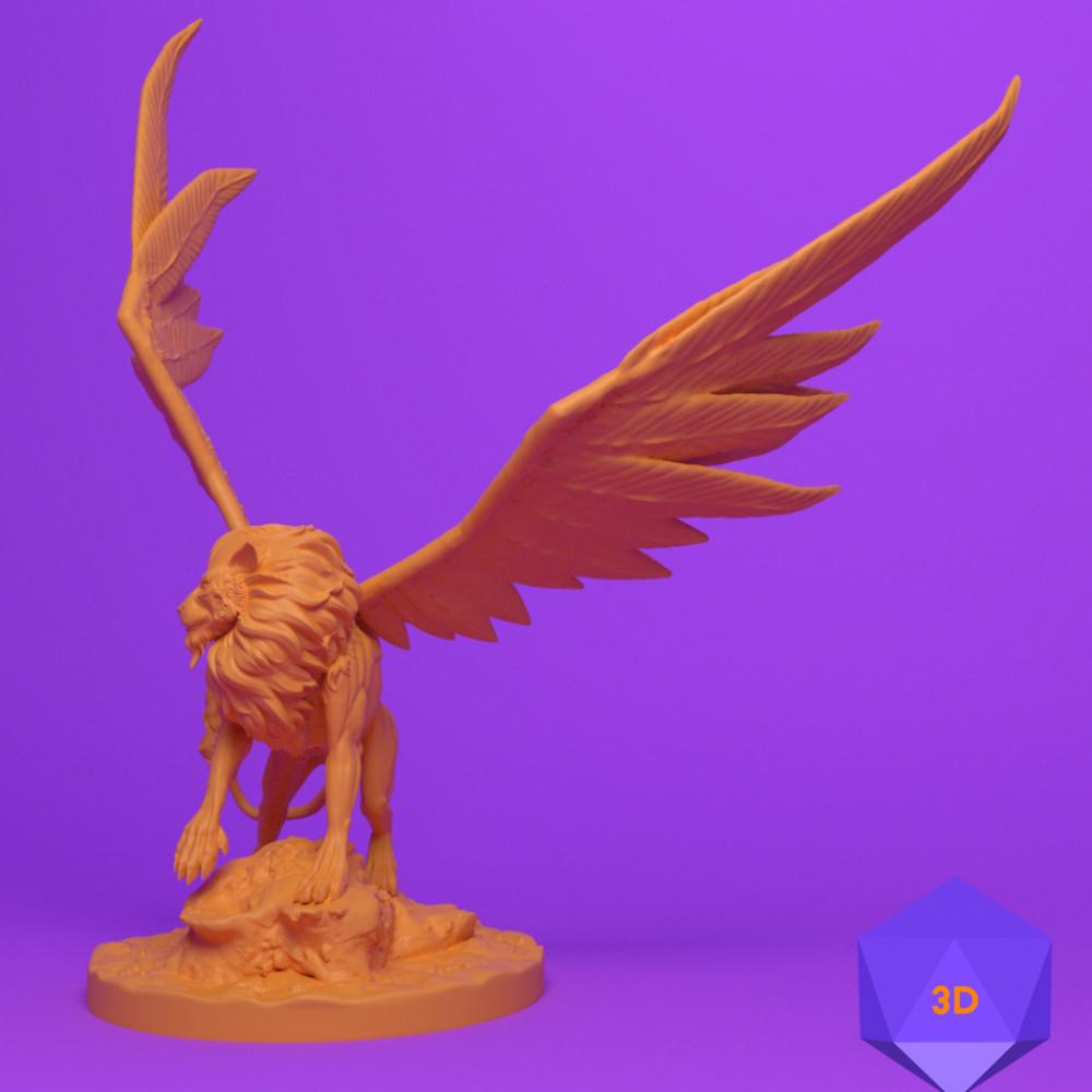 1000x1000 mini 3d files josh clithero stl 3d prints printer dnd dungeons and dragons miniature fighter paladin rogue cleric barbarian wizard warrior sorcerer warlock bard monk npc character celestial lion2
