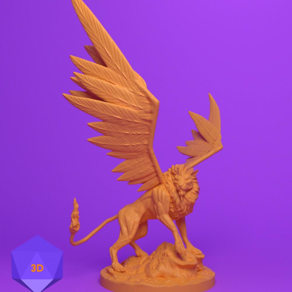 1000x1000 mini 3d files josh clithero stl 3d prints printer dnd dungeons and dragons miniature fighter paladin rogue cleric barbarian wizard warrior sorcerer warlock bard monk npc character lion celestial